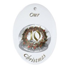 10th Christmas Porcelain, Ornament (Oval)