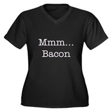 Mmm ... Bacon Women's Plus Size V-Neck Dark T-Shir