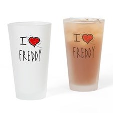 i love Halloween Freddy Drinking Glass