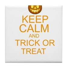 keep calm and trick or treat Halloween Tile Coaste