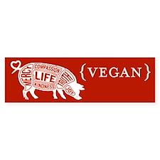 Words to Live By Pig Bumper Sticker, Red-Orange