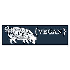 Words to Live By Pig Bumper Sticker, Dark Blue
