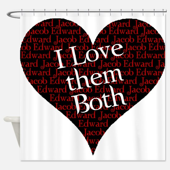 love them both.png Shower Curtain