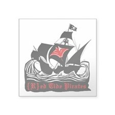 "Red Tide Pirates Square Sticker 3"" x 3"""
