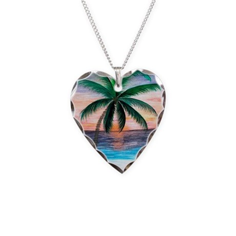 Sunset Palm Tree Necklace Heart Charm