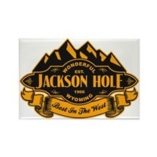 Jackson Hole Mountain Emblem Rectangle Magnet