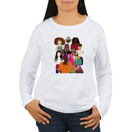 Brown Lady Collage (White Bckgrnd) Long Sleeve T-S