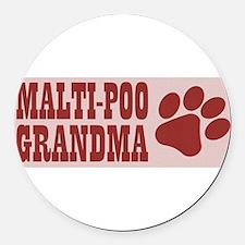 Malti-Poo Grandma Round Car Magnet