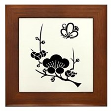 ume blossoms and butterfly Framed Tile