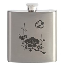 ume blossoms and butterfly Flask