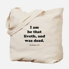 Revelation 1:18 Tote Bag