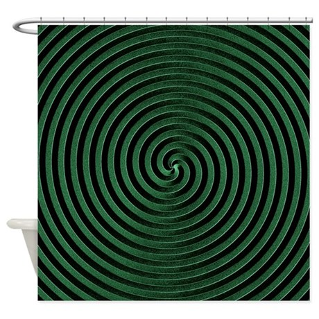 Green Spiral Shower Curtain By Expressivemind