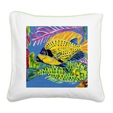 Yellow n Green Fishes Square Canvas Pillow