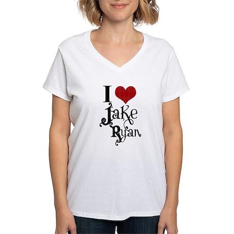 I love Jake Ryan Women's V-Neck T-Shirt