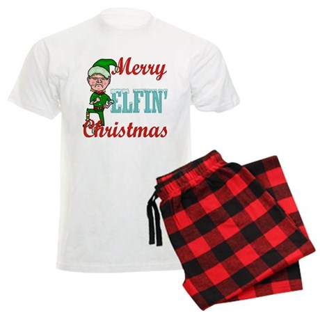 Funny Elfin Christmas Men's Light Pajamas