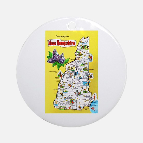 New Hampshire Map Greetings Ornament (Round)