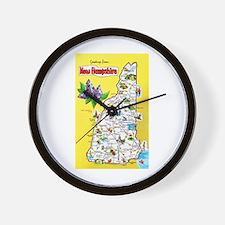 New Hampshire Map Greetings Wall Clock