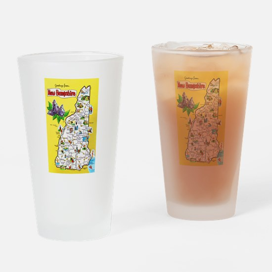 New Hampshire Map Greetings Drinking Glass