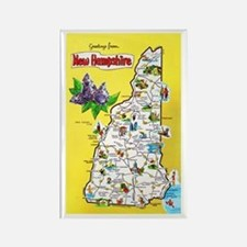 New Hampshire Map Greetings Rectangle Magnet