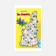 New Hampshire Map Greetings Decal