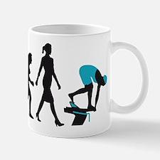 evolution female swimmer on startblock Mug