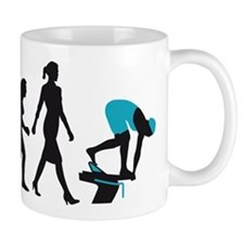 evolution female swimmer on startblock Small Mug