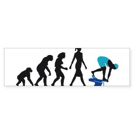 evolution female swimmer on startblock Sticker (Bu