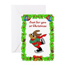 Skating Sam, the Christmas Rabbit Greeting Card