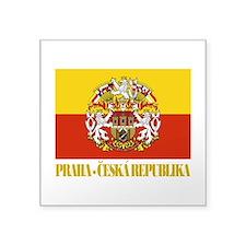 """Praha (Prague) Flag COA.png Square Sticker 3"""" x 3"""""""