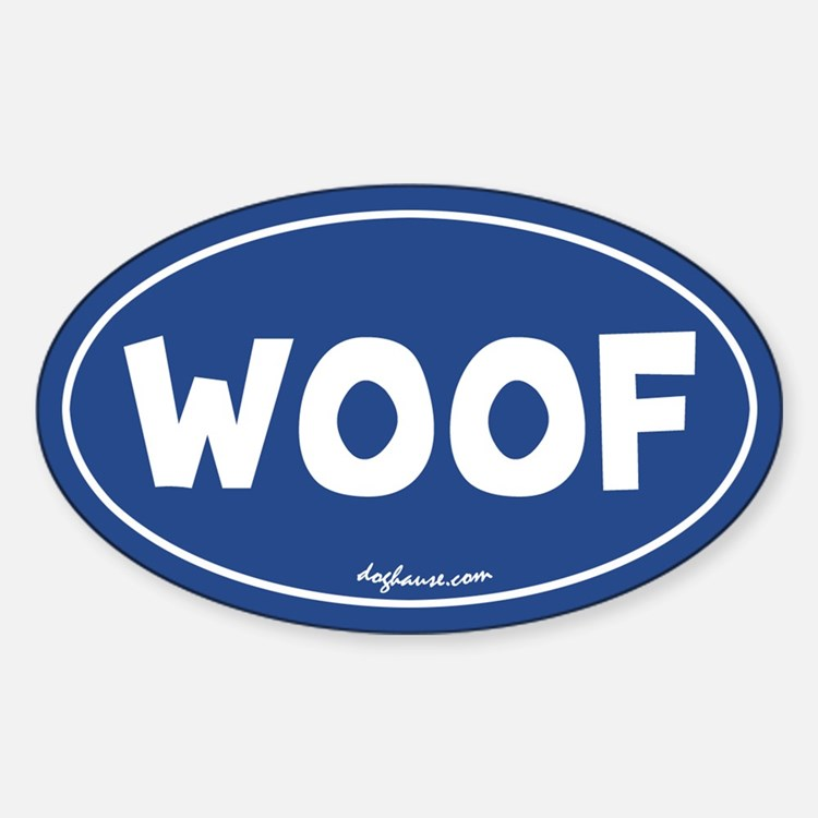 Woof (Blue) Oval Decal