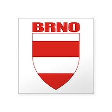 """Brno COA (red).png Square Sticker 3"""" x 3"""""""
