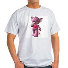 Pink Heart Kitten Ash Grey T-Shirt