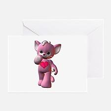Pink Heart Kitten Greeting Cards (Pk of 10)