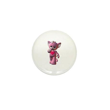 Pink Heart Kitten Mini Button (100 pack)