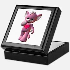 Pink Heart Kitten Keepsake Box