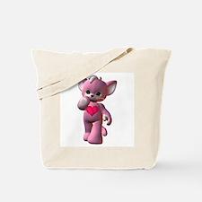 Pink Heart Kitten Tote Bag