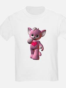 Pink Heart Kitten Kids T-Shirt