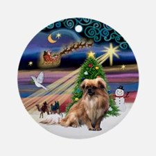 Xmas Magic & Tibetan Spaniel Ornament (Round)