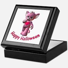 Happy Halloween Pink Kitten Keepsake Box