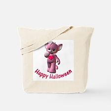 Happy Halloween Pink Kitten Tote Bag