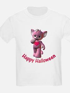 Happy Halloween Pink Kitten Kids T-Shirt