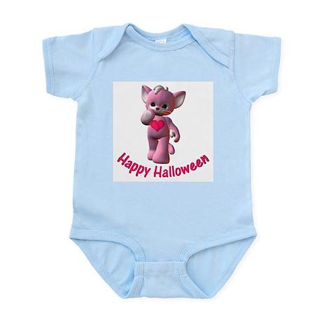 Happy Halloween Pink Kitten Infant Creeper