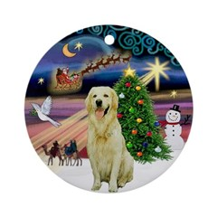 Xmas Magic with a light Golden Ornament (Round)