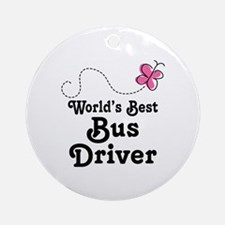 Cute Bus Driver Gift Ornament (Round)