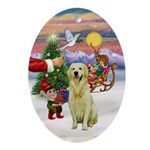Santa's Treat for his light Golden Oval Ornament