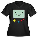 Pocket Game Women's Plus Size V-Neck Dark T-Shirt