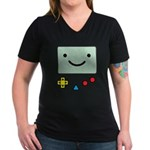 Pocket Game Women's V-Neck Dark T-Shirt