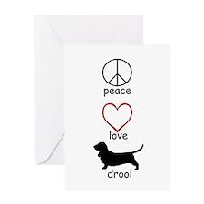 Peace, Love, Drool Greeting Card