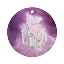 Pink Fairytale Castle Ornament (Round)