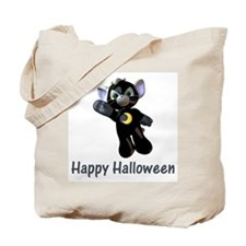 Happy Halloween Moon Kitten Tote Bag